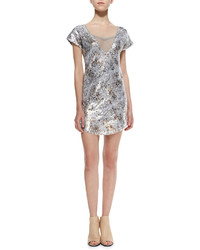 Free People Shattered Glass Short Sleeve Sequined Dress