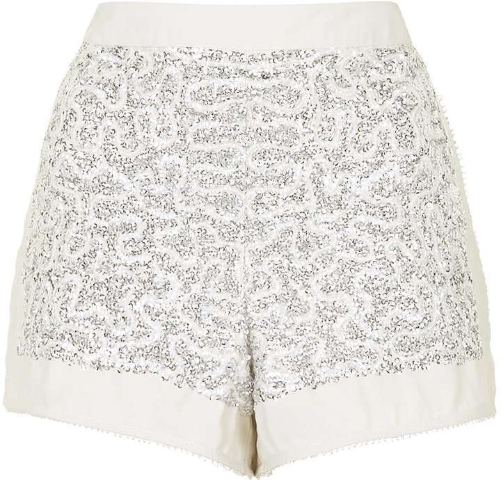 quality products sneakers to buy Topshop Sequin Embellished Shorts, $80 | Topshop | Lookastic.com