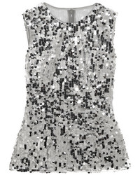 Dolce & Gabbana Sequined Tulle Top Silver