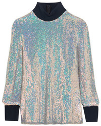 3.1 Phillip Lim Jersey Trimmed Sequined Silk Turtleneck Top Silver