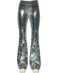 Silver Sequin Wide Leg Pants