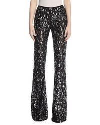 Michael Kors Michl Kors Collection Sequined Leopard Tulle Flare Leg Pants
