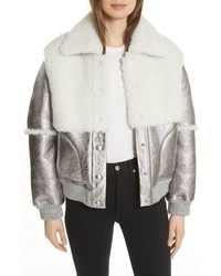 See by Chloe Genuine Shearling Metallic Bomber Jacket