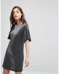 Warehouse Metallic Frill Tunic Dress