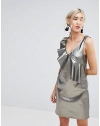 Vila Metallic Shift Dress With Frill Detail
