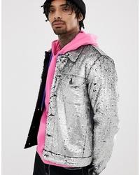 ASOS DESIGN Festival Western Sequin Jacket In Silver