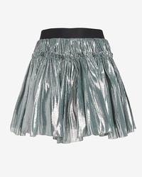 Faith Connexion Lame Mini Skirt Silver