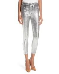 L'Agence Margot Metallic Crop Skinny Jeans