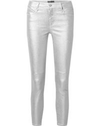RtA Prince Metallic Mid Rise Stretch Skinny Jeans