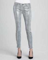 J Brand Jeans Metallic Python Print Suede Skinny Pants