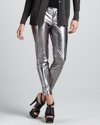 Robert Rodriguez Metallic Leather Cropped Pants
