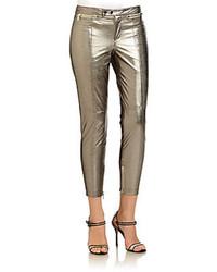 Zip detail metallic leather cropped pants medium 79788