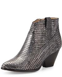 Reina metallic snake print western bootie charcoal medium 160772