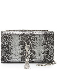 Silver Snake Leather Crossbody Bag