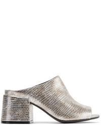MM6 MAISON MARGIELA Metallic Snake Effect Leather Mules Silver