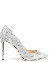 Romy 100 glittered snake effect leather pumps silver medium 4392930