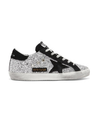 Golden Goose Deluxe Brand Glittered Leather And Suede Sneakers