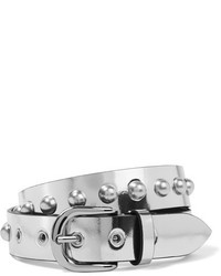 Isabel Marant Zoa Studded Metallic Leather Belt Silver