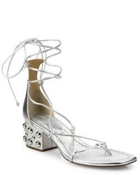 Michael Kors Michl Kors Collection Ayers Metallic Leather Lace Up Block Heel Sandals