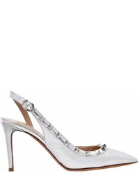 Valentino 85mm Rockstud Metallic Leather Pumps