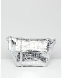 ASOS DESIGN Suede Winged Cross Body Bag In Metallic Croc