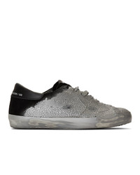 Golden Goose Silver And Black Suede Sneakers