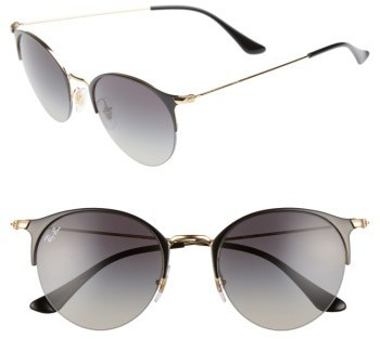 8429176d7c ... Ray-Ban 50mm Round Sunglasses Gold Black Light Grey