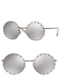 Valentino Garavani 52mm Crystal Trim Mirrored Round Sunglasses