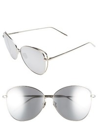Linda Farrow 62mm Mirrored 18 Karat White Gold Sunglasses White Gold Platinum