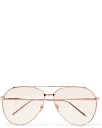 Linda Farrow Aviator Style Rose Gold Plated Sunglasses Metallic