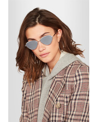 Le Specs Bazaar Cat Eye Silver Tone Mirrored Sunglasses
