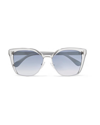 Prada Cat Eye Acetate And Silver Tone Mirrored Sunglasses
