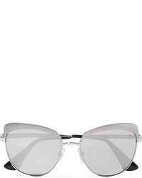 Prada Cat Eye Silver Tone Mirrored Sunglasses