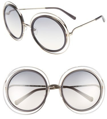 8f1ef948efb57 ... Chloé Chloe Carlina 58mm Round Sunglasses Gold Transparent Grey ...