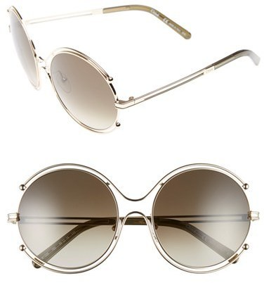 40000161136ec ... Chloé Chloe Isidora 59mm Round Sunglasses Gold Grey ...