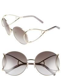Chloé Chloe Jackson 60mm Round Sunglasses Gold Grey