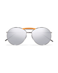 Fendi Gentle Aviator Style Silver Tone Mirrored Sunglasses