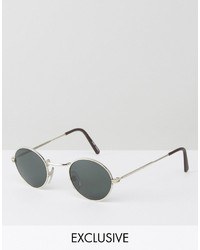 Reclaimed Vintage Inspired Metal Round Sunglasses In Silver