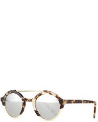 Illesteva Milan Iv Round Sunglasses White Tortoise