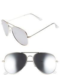 Mirrored aviator 57mm sunglasses black silver medium 3753218