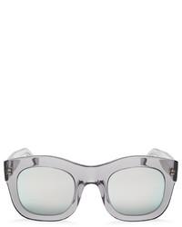 Illesteva Mirrored Hamilton Oversized Thick Rim Square Sunglasses 49mm
