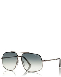Tom Ford Ronnie Gradient Geometric Aviator Sunglasses Light Gunmetal