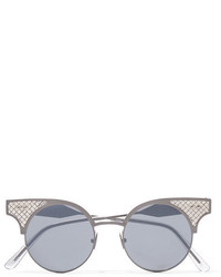 Bottega Veneta Round Frame Silver And Titanium Sunglasses