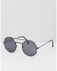 Asos Round Sunglasses In Gunmetal With Flat Lens