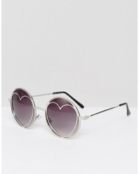 Missguided Silver Heart Sunglasses