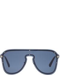 Versace Silver Pilot Shield Hybrid Sunglasses
