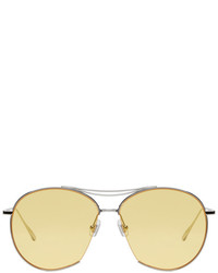 Gentle Monster Silver Yellow Jumping Jack Aviator Sunglasses