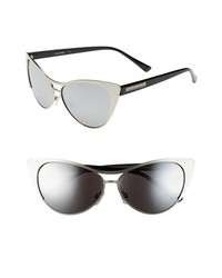 Steve Madden 60mm Cat Eye Sunglasses Matte Silver Black One Size