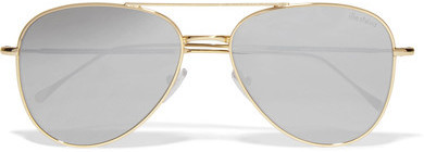 Illesteva Wooster Aviator Style Gold Tone Sunglasses Silver
