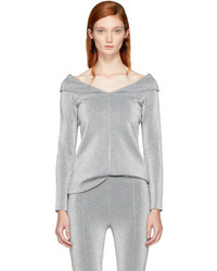 Rosetta Getty Silver Split Neck Pullover